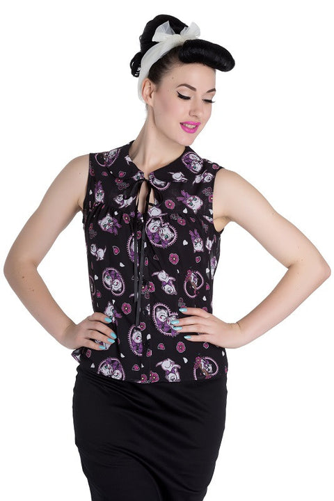 Kitty Blossom Blouse Top Hell Bunny