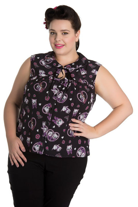 Kitty Blossom PLUS Size Blouse Top Hell Bunny