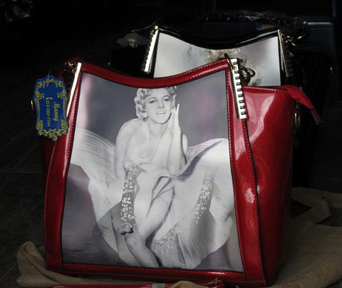 Marilyn Monroe New Faux leather Bag 3 Hologram Pics New RED