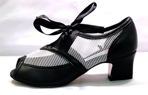 Mesh and Black leather shoe