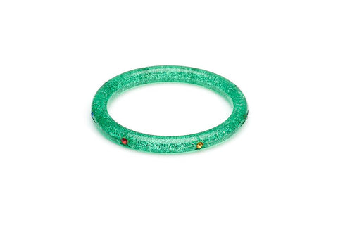 Narrow Rainbow Jewel Carved GREEN Glitter Bangle Regular