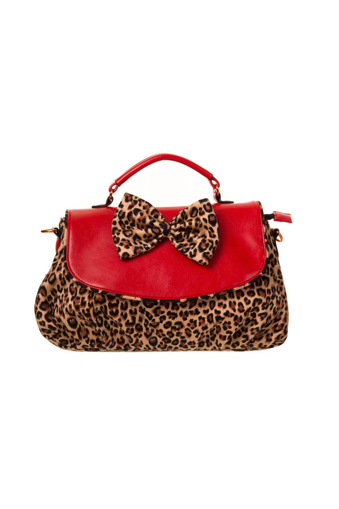 Red Leopard Handbag By Banned