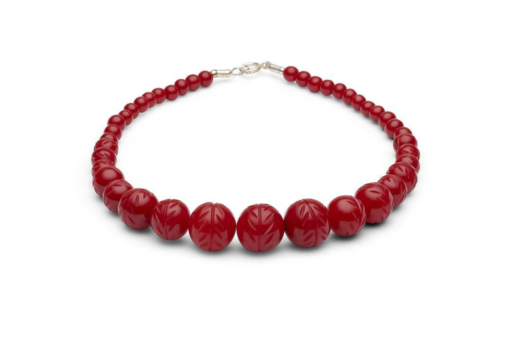 Carved Poppy Red Fakelite Beads