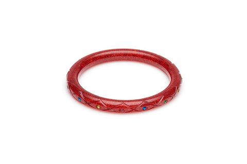 Narrow Rainbow Jewel Carved RED Glitter Bangle Regular