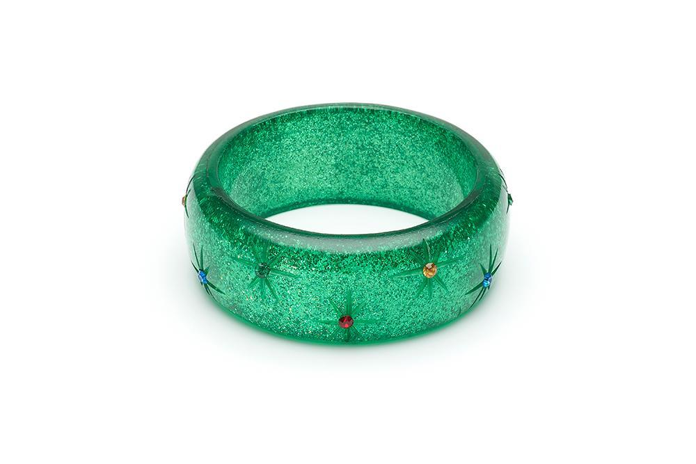 Wide Rainbow Jewel Carved GREEN Glitter Bangle Regular