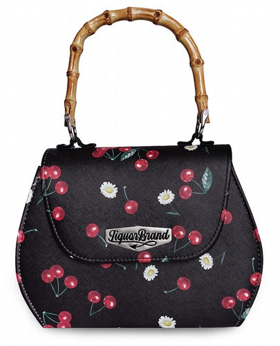 Liquorbrand Retro Bamboo Handle Bag -Daisey Cherry Black