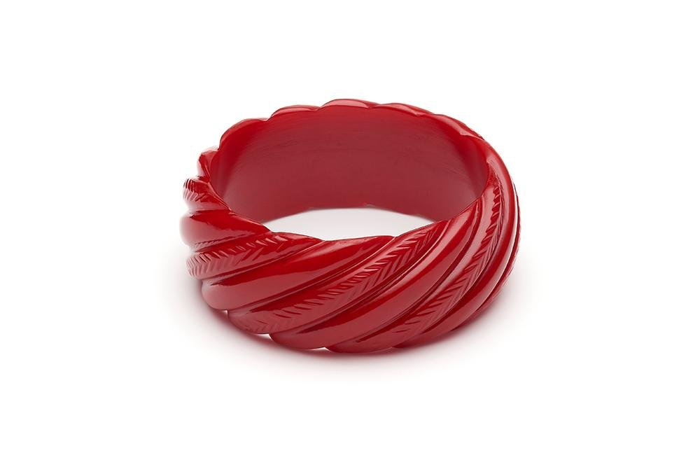 Wide Red Heavy Carve Regular Bangle