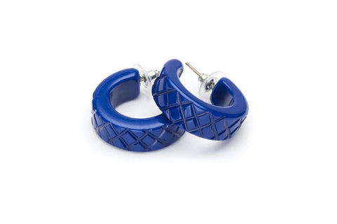 Indigo Heavy Carve Fakelite Hoop Earrings Fakelite