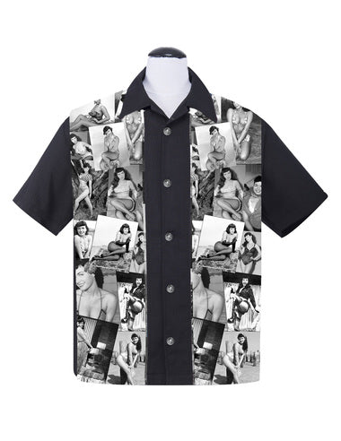 Bettie Page Collage Panel Button Up in Black
