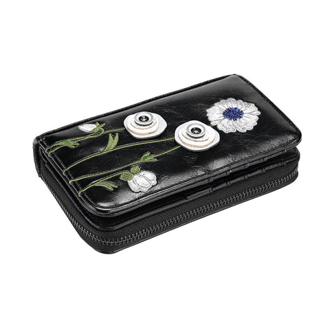 White Poppy Zip Around Wallet