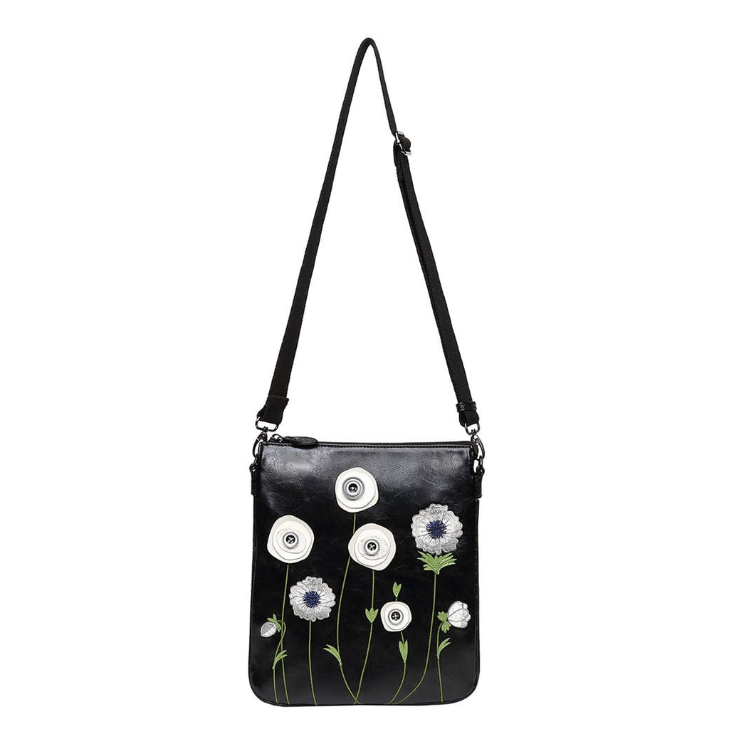 White Poppy Double Compartment Crossbody Bag