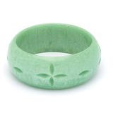 Wide Minty Carved Bangle