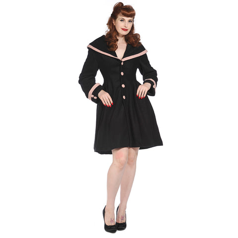 Banned Black Dusty pink Trim  WW2 Style Coat