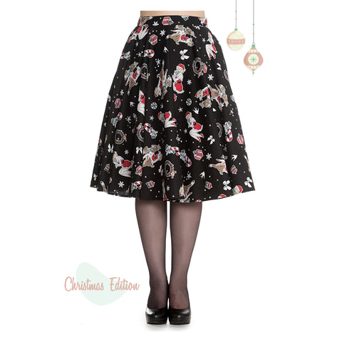 Hell Bunny Blitzen Pin Up Christmas Skirt