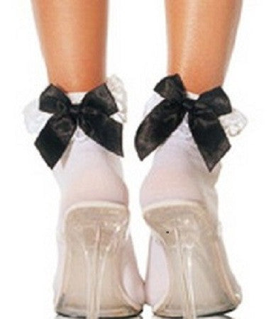 Bobby Socks with Lace Trim & Bow