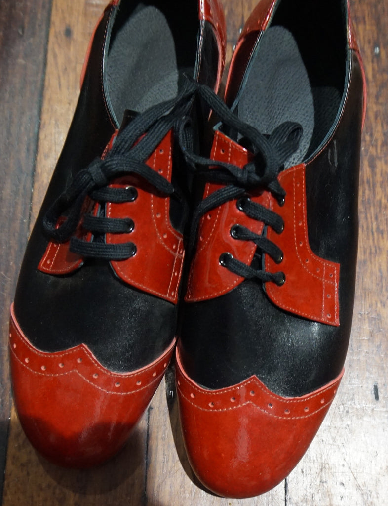 Gatsby brogue dance shoes -Black patent  with burgundy patent