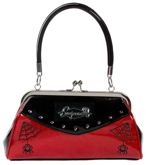 Webbed widow Bag red sparkle