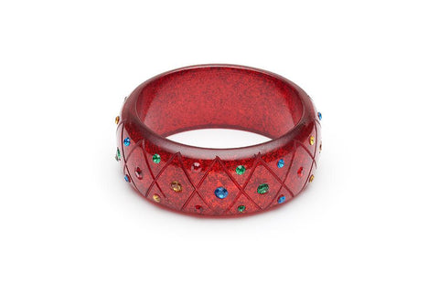 Wide Rainbow Jewel Carved RED Glitter Bangle Duchess