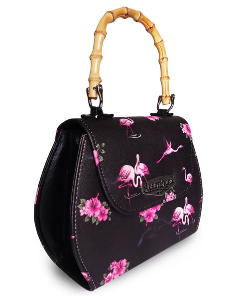Liquorbrand Retro Bamboo Handle Bag - Flamingos -Black
