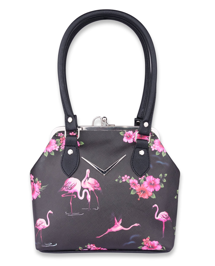Liquorbrand Retro Flamingo Chevron HandBag