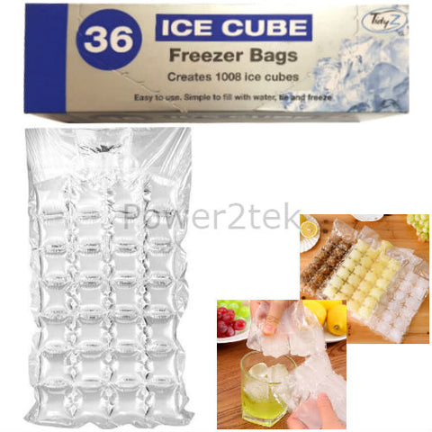 36 Disposable Ice Cube Bags Clear Fridge Freezer Plastic BBQ Party 1008 Cubes UK