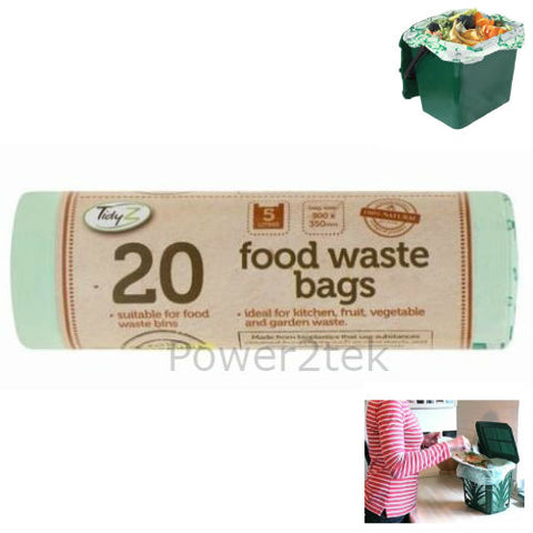 20 x 5 Litre Compostable Kitchen Food Waste Caddy Liner Bags Biodegradeable NEW