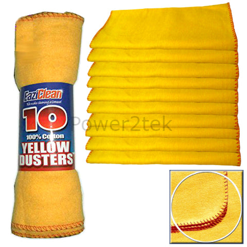 10 x High Quality Large Soft Polishing Cloth Clean Yellow Dusters 100% Cotton UK