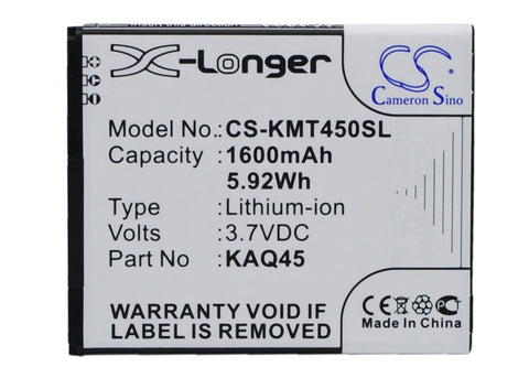 Battery for KAZAM Thunder 4.5, Thunder Q4.5 KAQ45, KAQ45-CYFAL022089 3.7V Li-ion