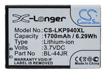 Battery for LG K2, KU5400, Optimus EX, P940, Prada 3.0, SU540, SU880 BL-44JR 3.7