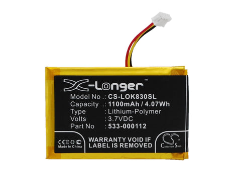 Battery for Logitech IIIuminated Living-Room Keyboa, K830 533-000112, L/N 1406 3