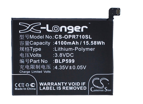 Battery for OPPO R7 Plus BLP599 3.8V Li-Polymer 4100mAh / 15.58Wh