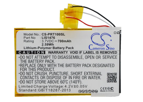 Battery for Sony PRS-T1, PRS-T2, PRS-T3, PRS-T3E, PRS-T3S 1-853-104-11, LIS1476,