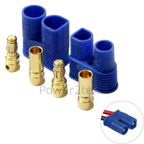 Amass EC2 Premium Bullet Connectors (Male/Female) Banana Head Plug Blue