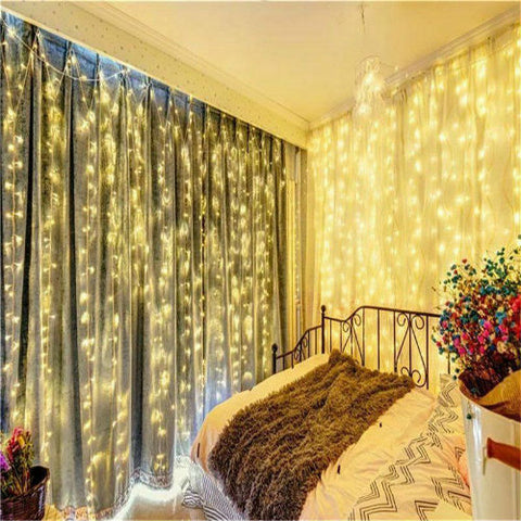 USB 3m x 3m LED Indoor Wedding Window Wall Curtain Fairy Lights with Remote Control