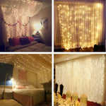 USB 3m x 3m LED Indoor Wedding Window Wall Curtain Fairy Lights with Remote Control in Applications