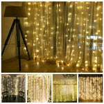 USB 3m x 3m LED Indoor Wedding Window Wall Curtain Fairy Lights with Remote Control Decoration