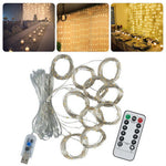 3m x 3m LED Indoor Wedding Window Wall Curtain Fairy Lights with Remote Control USB