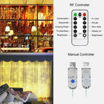 USB 3m x 3m LED Indoor Wedding Window Wall Curtain Fairy Lights with Remote Control USB powered