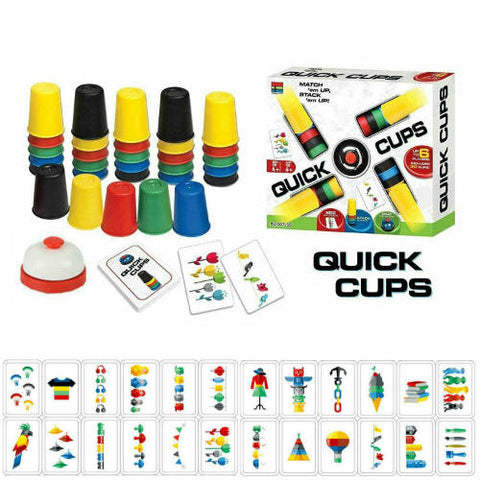 Quick Cups Game for Kids Speed Training Sports Stacking Cup Set 24 Cards 30 Cups