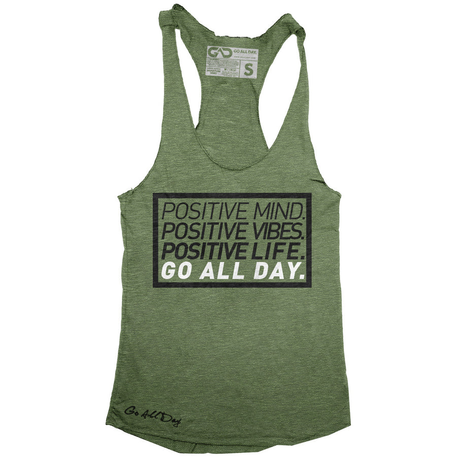 "GO ALL DAY ""POSITIVE LIFE"" TriBlend Racerback Tank (Camo Green)"