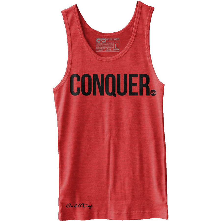 """CONQUER"" Unisex Tank (Heather Red)"