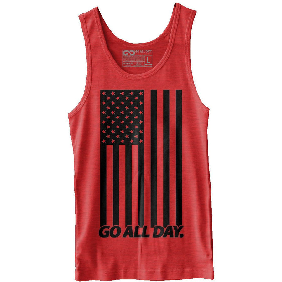"""USA FLAG"" Unisex Tank (Heather Red)"