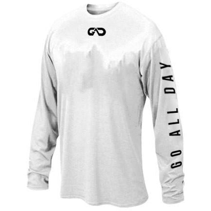 """GO ALL DAY"" White Long-sleeve Shirt (Small Logo)"