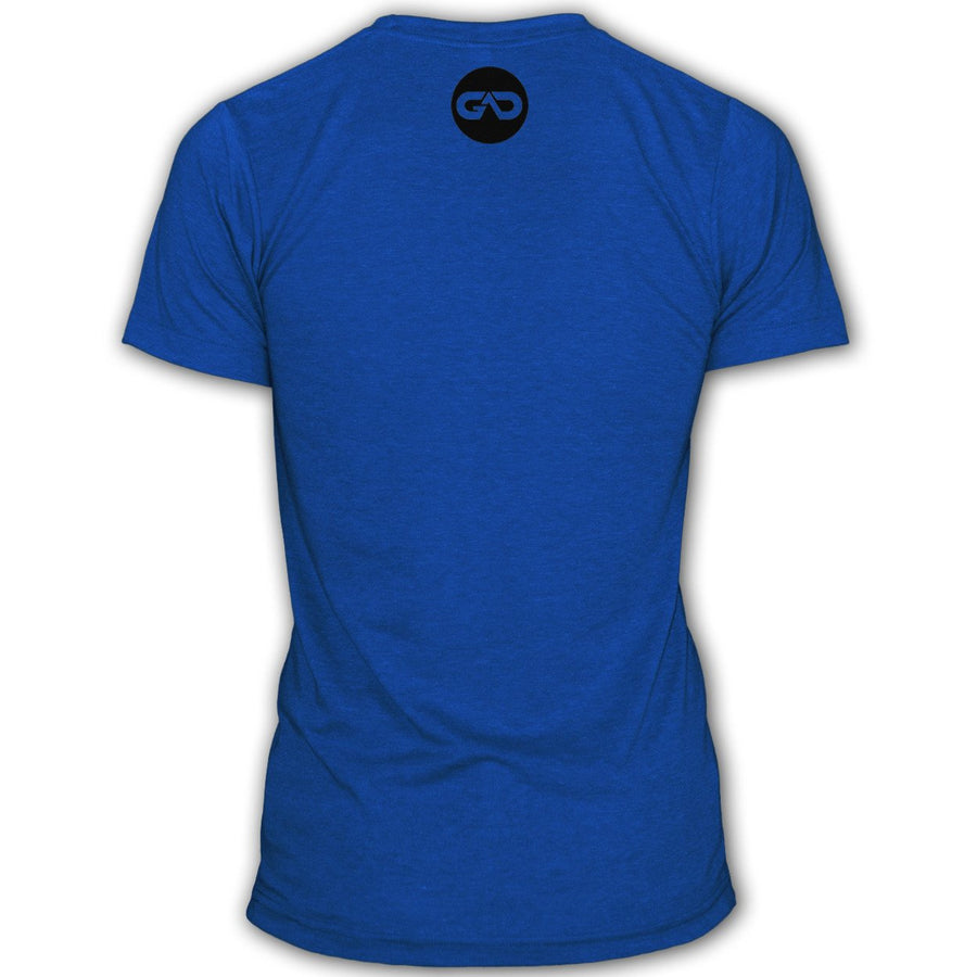 """#FOCUSED"" Signature Series Tee Poly/Cotton (Blue)"