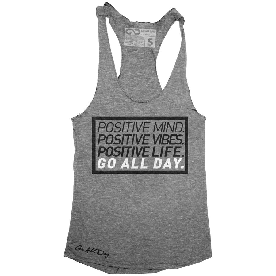 "GO ALL DAY ""POSITIVE LIFE"" TriBlend Racerback Tank (Grey)"