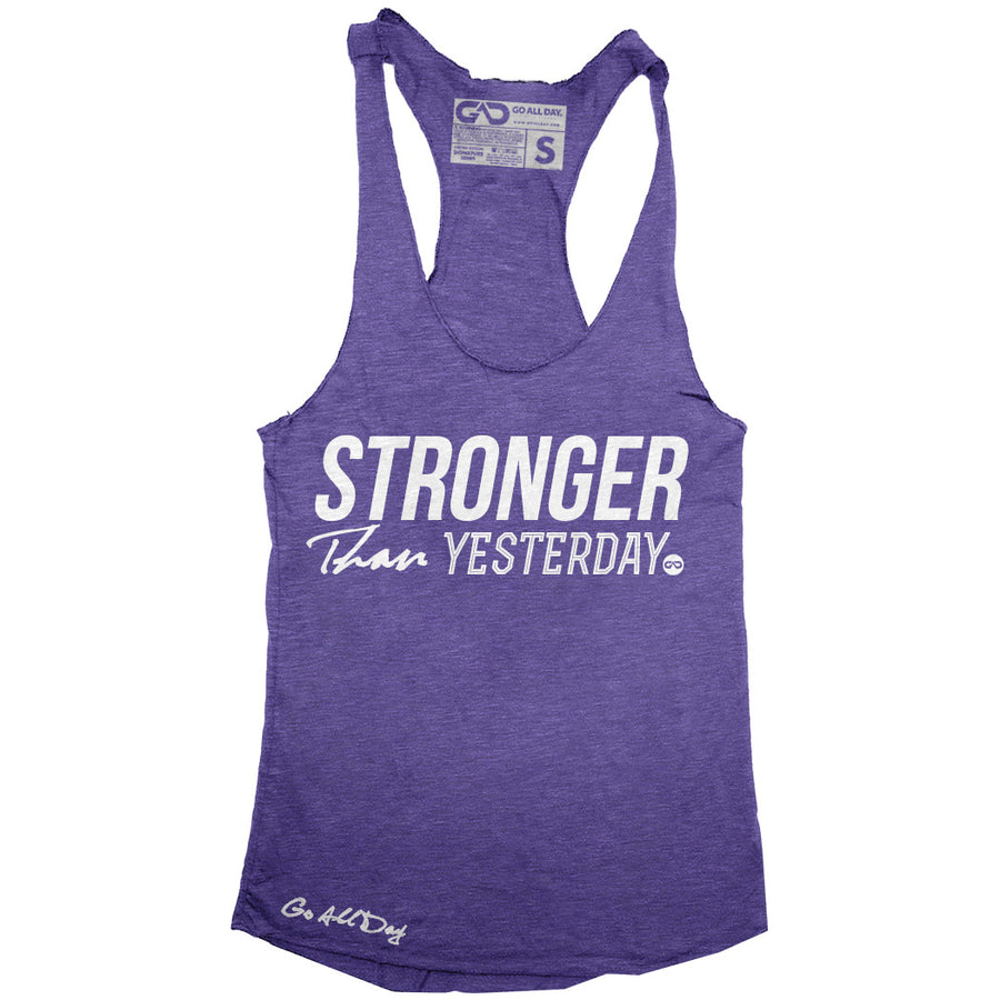 """STRONGER Than Yesterday"" Signature Series Racerback Tank (Purple)"