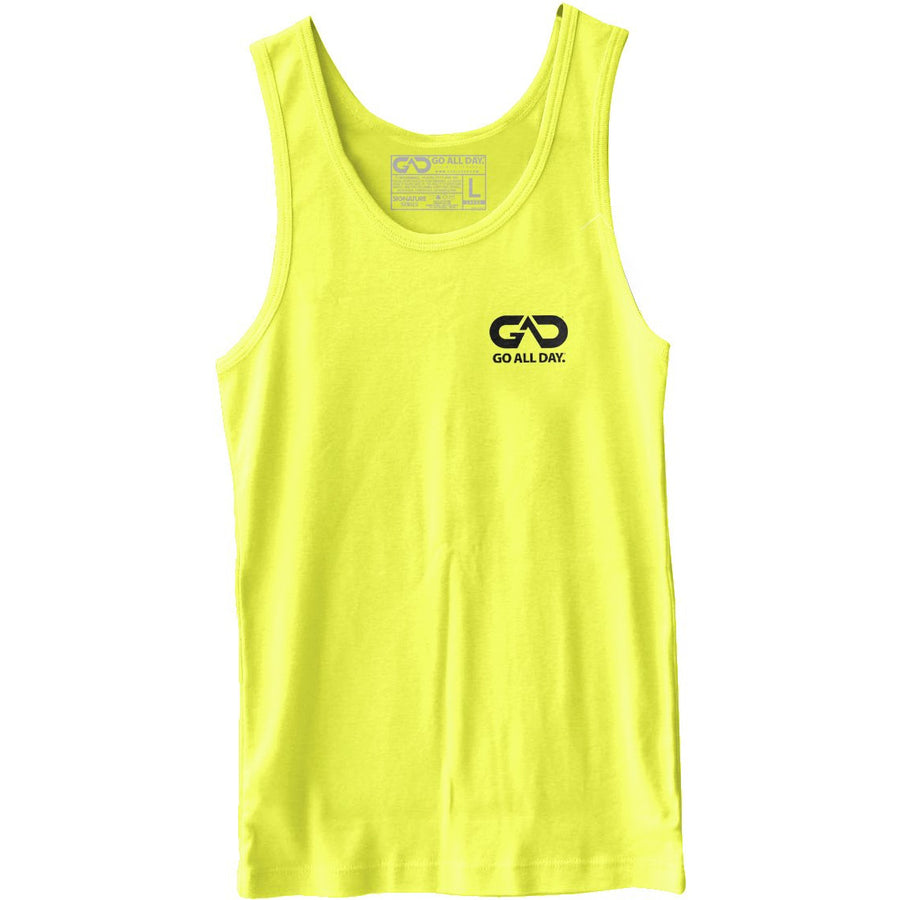 GO ALL DAY® Unisex Tank (Neon Yellow) Small Logo