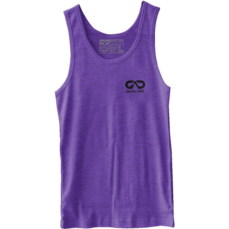 GO ALL DAY® Unisex Tank (Heather Purple) Small Logo