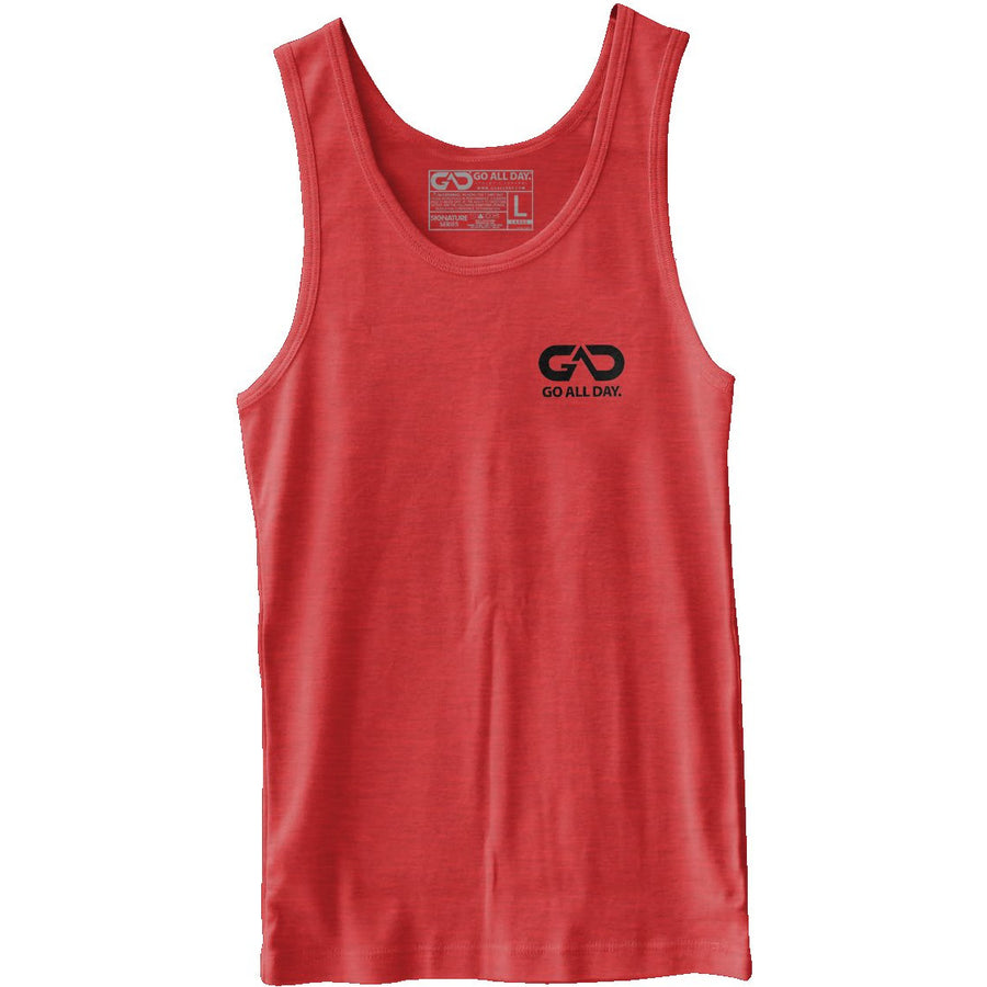 GO ALL DAY® Unisex Tank (Heather Red) Small Logo