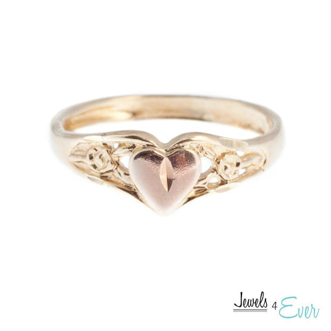 Sterling Silver Vintage Vermeil Rose Gold Heart Ring with 22KT Yellow Gold plating